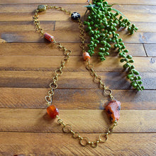 Load image into Gallery viewer, Orange and Carnelian African Beaded Charm Necklace OOAK