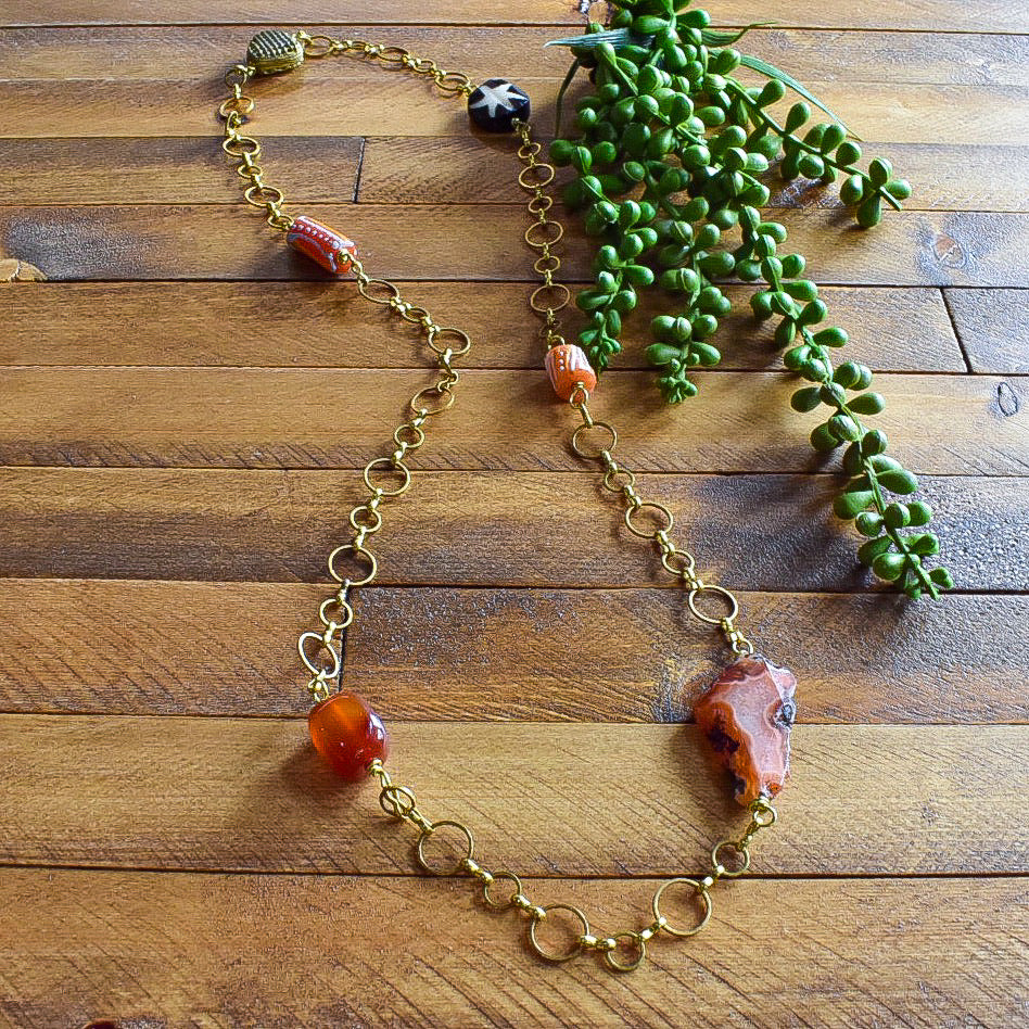 Orange and Carnelian African Beaded Charm Necklace OOAK