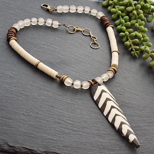 Cream And Dark Brown African Beaded Necklace - Afrocentric jewelry