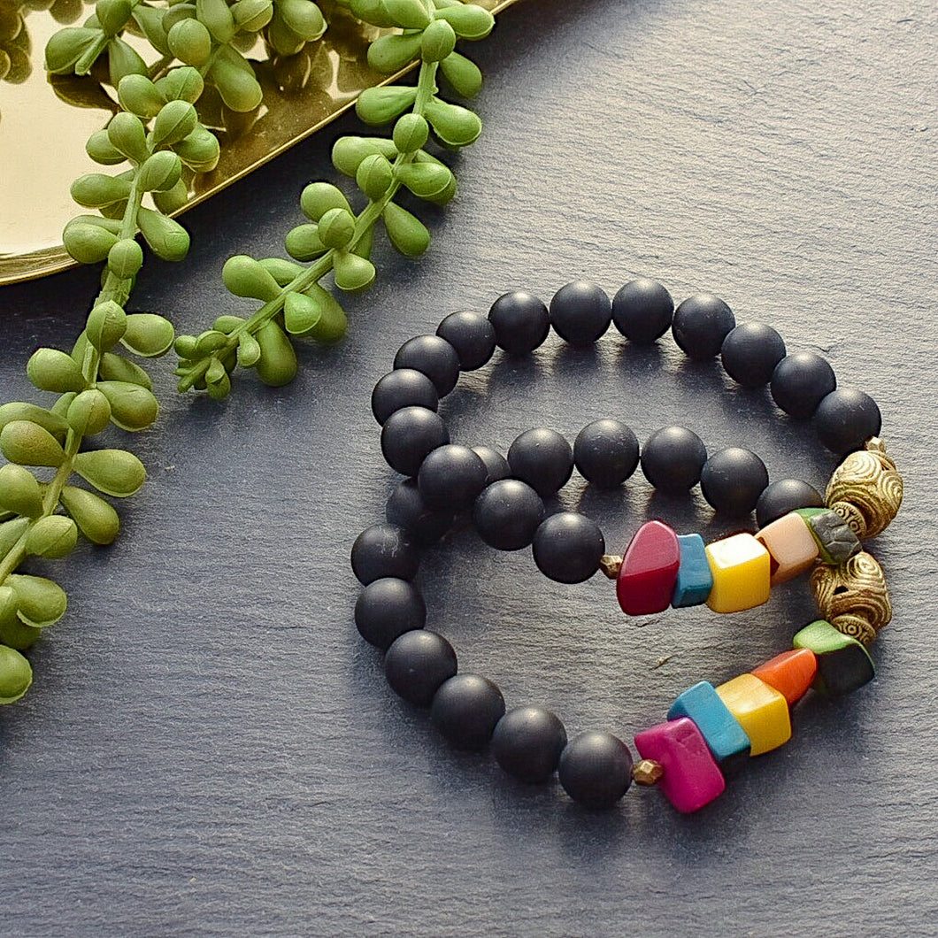 Spring Time Tagua and Black Agate Bracelet - Afrocentric jewelry