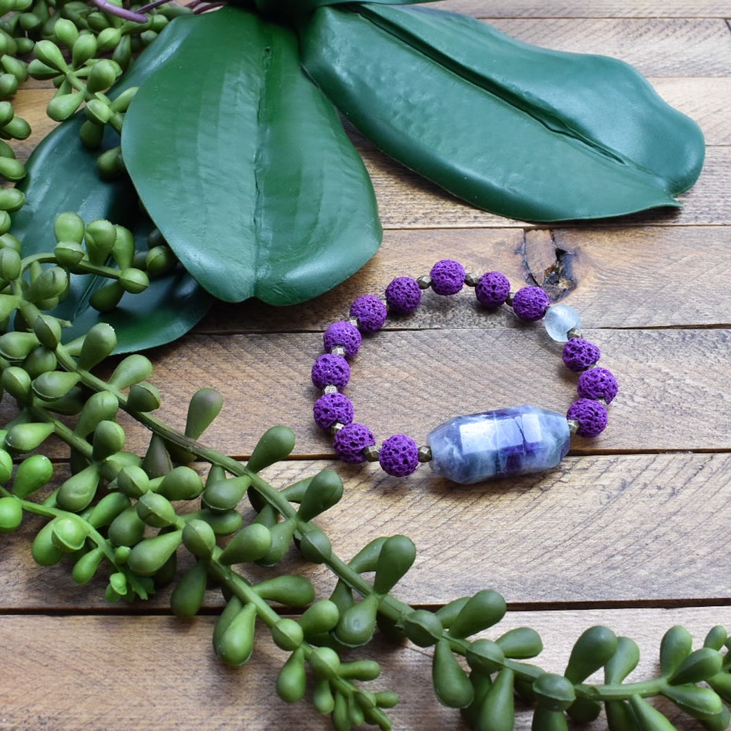 Fluorite and African Beaded Bracelet (Reserved for LT)