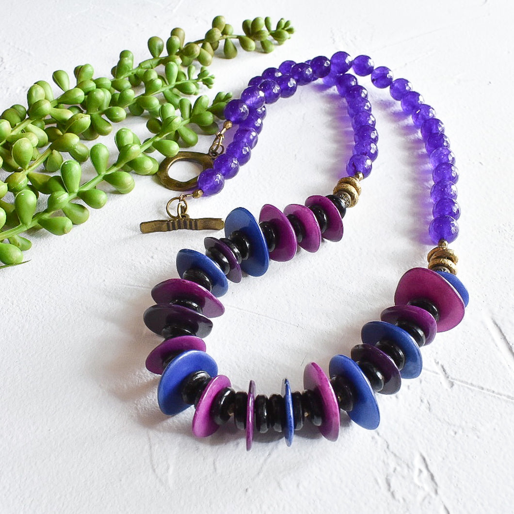 Purple and Violet Tagua Statement Necklace