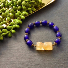 Load image into Gallery viewer, Citrine and Bright Blue Trade Bead Chunky Bracelet - Afrocentric jewelry