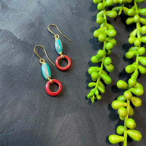 Teal and Red Antique African Beaded Earrings