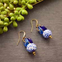 Load image into Gallery viewer, Blue Lantern Recycled Glass Earrings - Afrocentric jewelry