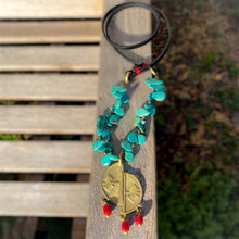 Load image into Gallery viewer, Turquoise, Coral, and Leather Ashanti Brass Necklace