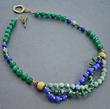 Load image into Gallery viewer, Malachite and Chrysocolla Multi-strand Necklace with Trade Beads and Ashanti Brass - Afrocentric jewelry