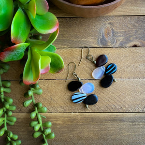 Black and White Mali Wedding Bead Drop Earrings
