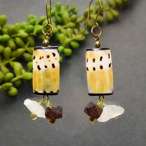 Shell Earrings with Quartz and Recycled Glass - Afrocentric jewelry