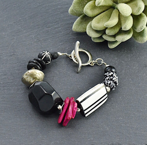 Black, Pink, and White Tagua Toggle Bracelet - Afrocentric jewelry