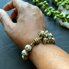 Load image into Gallery viewer, Dalmatian Jasper Cluster African Beaded Bracelet