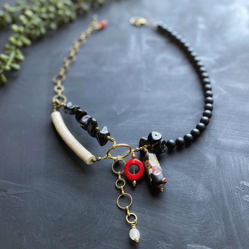 African Trade Bead Bridge Statement Necklace