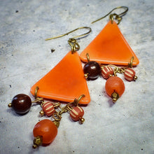 Load image into Gallery viewer, Orange Tagua Triangle Earrings with African Brass and Recycled Glass - Afrocentric jewelry