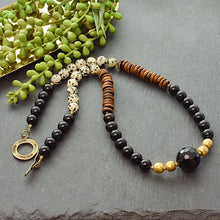 Load image into Gallery viewer, Black and Dalmatian Jasper Boho Necklace - Afrocentric jewelry
