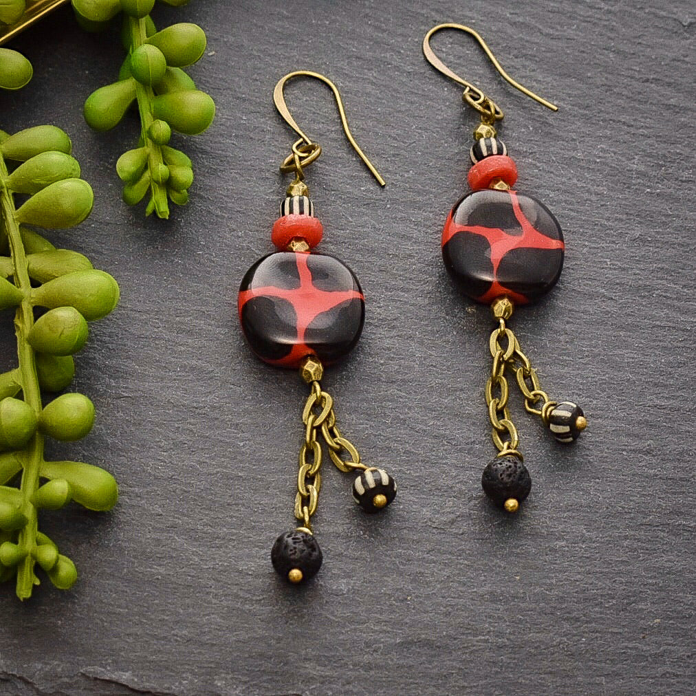 Red and Black Kazuri African Brass Dangle Earrings - Afrocentric jewelry