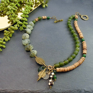 Green Prehnite and Recycled Glass Afrobohemian Necklace - Afrocentric jewelry