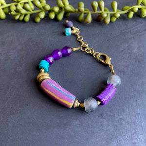 Purple and Teal African Beaded Toggle Bracelet