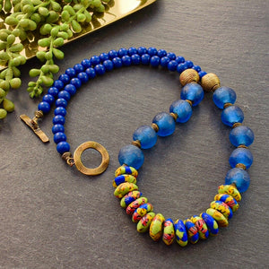 Blue and Green Recycled Glass Necklace - Afrocentric jewelry