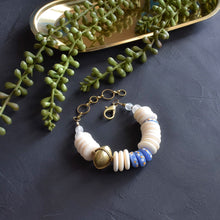 Load image into Gallery viewer, Cream and Blue Ashanti Adjustable Statement Bracelet
