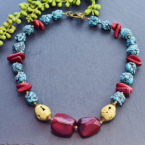 Burgundy and Turquoise Statement Necklace with Modular Tagua, Ashanti Brass & Moroccan Pottery Beads - Afrocentric jewelry