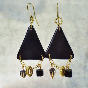 Black Tagua Triangle Earrings with African Brass and Recycled Glass - Afrocentric jewelry