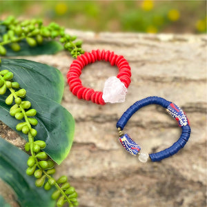 Red and Navy African Beaded Bracelet Set