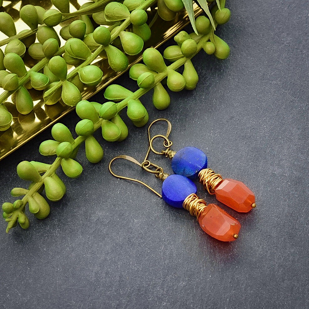 Carnelian and Lapis Drop Earrings - Afrocentric jewelry