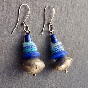 Blue Textile Mali Silver Earrings - Afrocentric jewelry