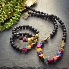 Load image into Gallery viewer, Spring Time Tagua and Black Agate Bracelet - Afrocentric jewelry