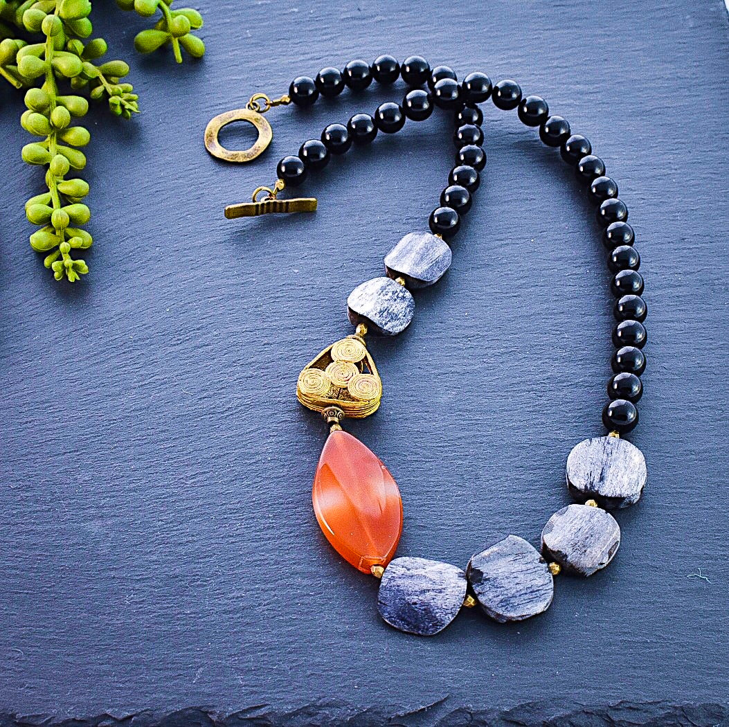 Tangerine Agate and Grey Distressed Bone Necklace - Afrocentric jewelry