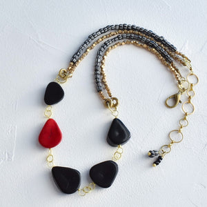 Black Tagua and African Beaded Necklace