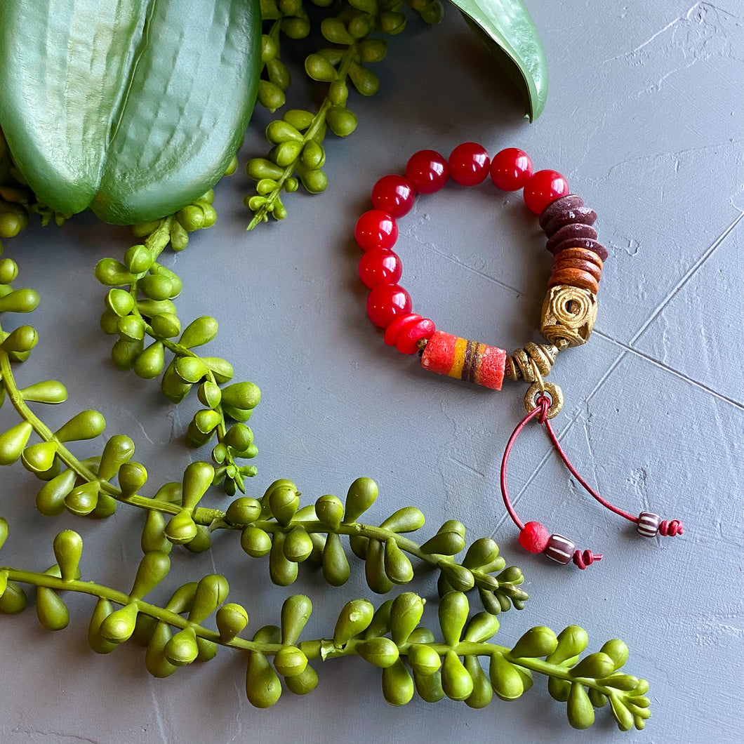 Tethered Red African Bead and Leather Bracelet