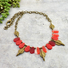 Load image into Gallery viewer, Red Mali Wedding Bead and Brass Necklace - Afrocentric jewelry