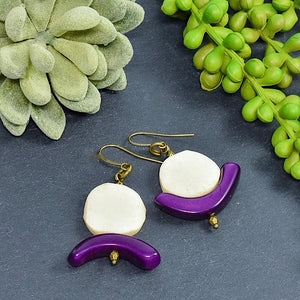 Summer C-Saw Abstract Tagua Earrings (Limited Edition) - Afrocentric jewelry