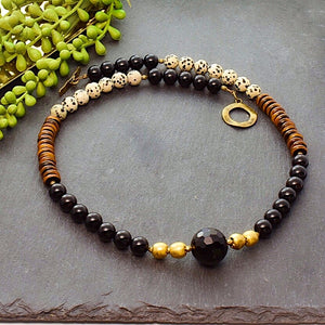 Black and Dalmatian Jasper Boho Necklace - Afrocentric jewelry