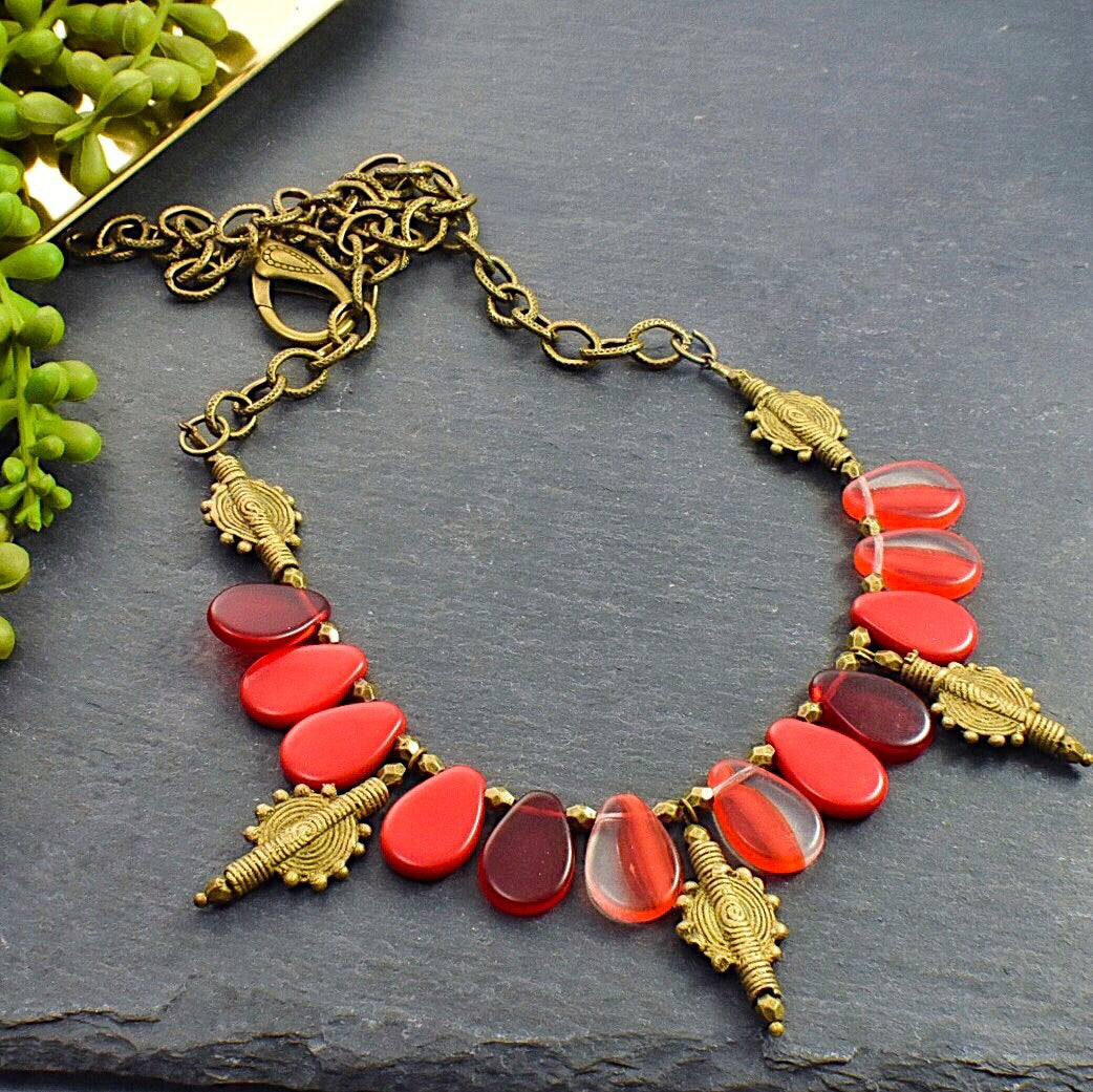 Red Mali Wedding Bead and Brass Necklace - Afrocentric jewelry