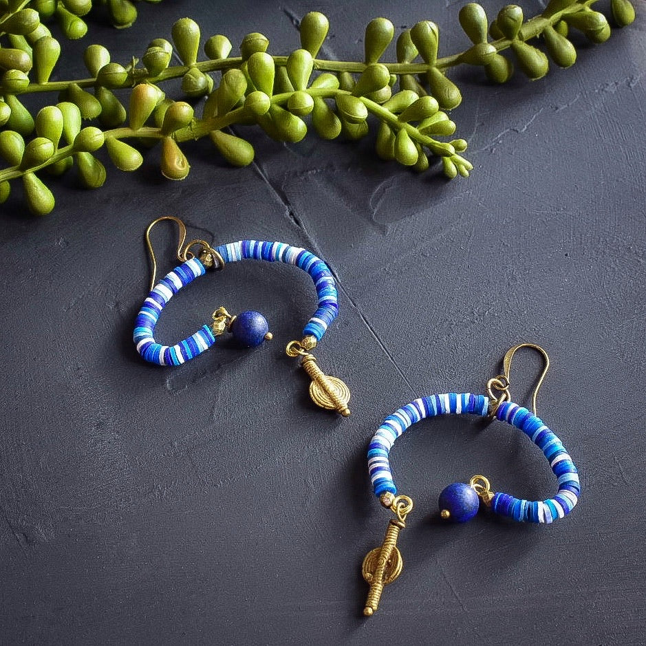 Blue Mobile Earrings with Recycled Vinyl & Lapis
