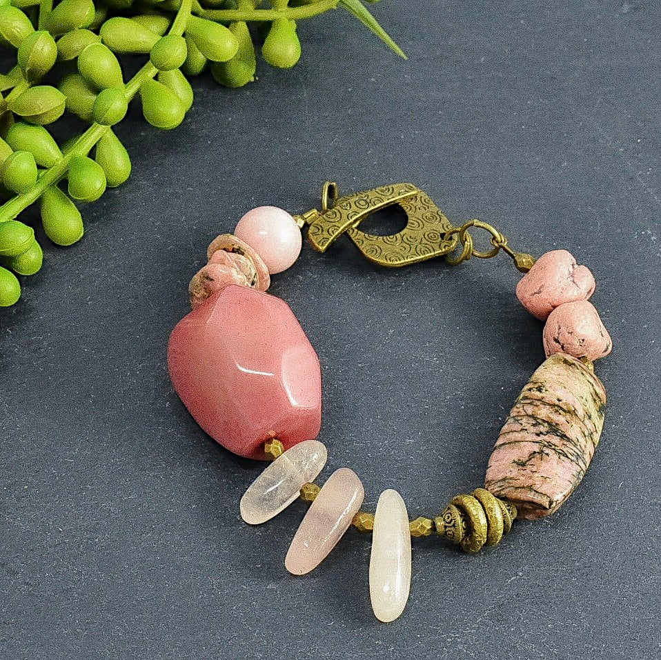 Rhodonite, Rose Quartz, African Bead, and Tagua Toggle Bracelet - Afrocentric jewelry