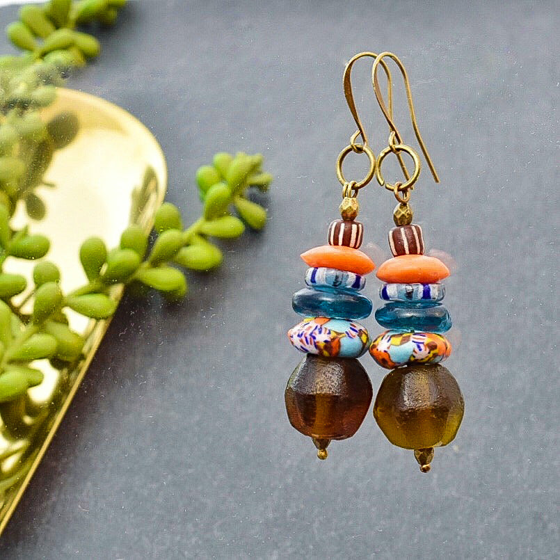 Multicolored Stacked Earrings with African Beads - Afrocentric jewelry