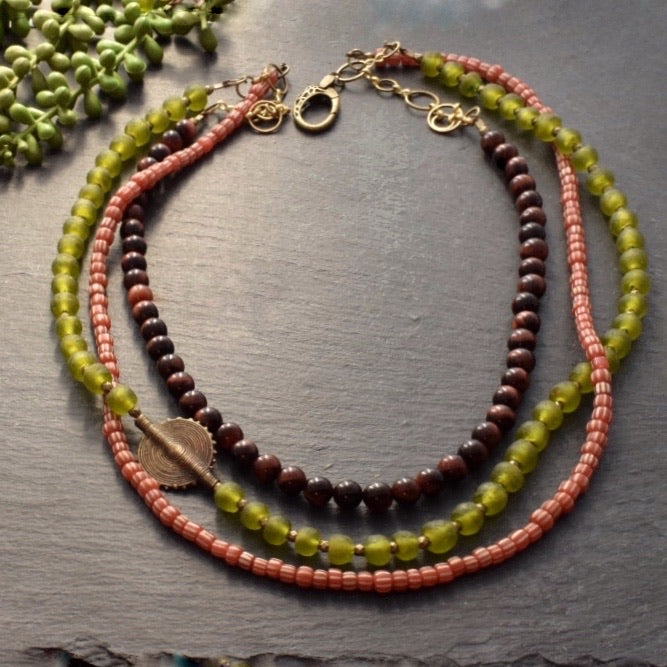Iron Tiger and African Glass Multi-strand Necklace - Afrocentric jewelry