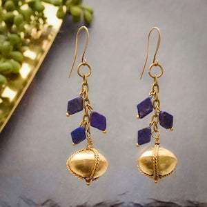 Lapis Vine and African Brass Dangle Earrings - Afrocentric jewelry