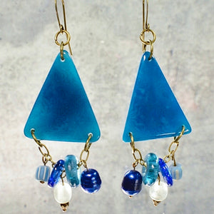 Teal Blue Tagua Triangle Earrings with African Brass and Recycled Glass - Afrocentric jewelry