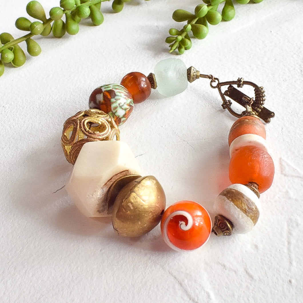 Pumpkin and Cream African Beaded Bracelet