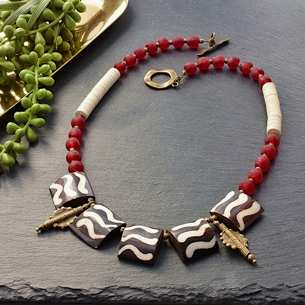 Batik Statement Necklace in Deep Red and Cream - Afrocentric jewelry