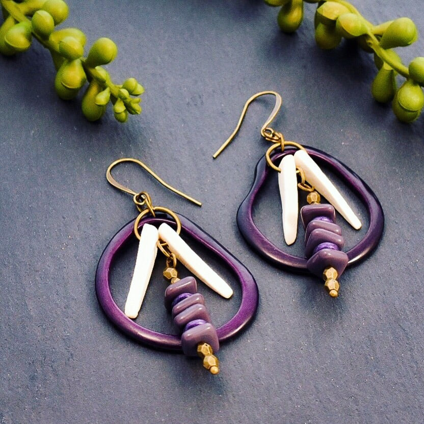 Purple Dragonfly Hoop Earrings with White Coconut Wood and Brass - Afrocentric jewelry