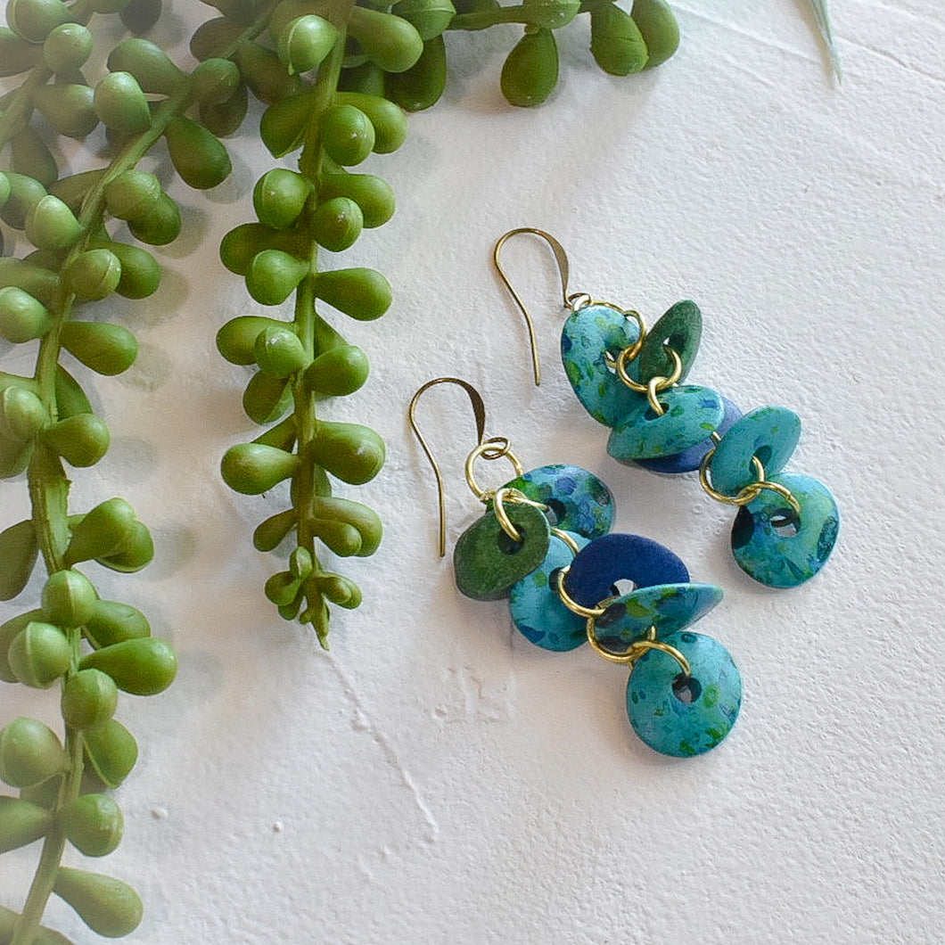 Blue and Sea Green Petal Earrings