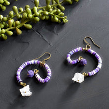 Load image into Gallery viewer, Purple Mobile Earrings with Recycled Vinyl and Quartz