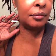 Load image into Gallery viewer, Triangle Hoop Earrings with African Vinyl - Afrocentric jewelry