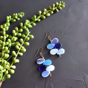 Blue and White Mali Wedding Bead Drop Earrings