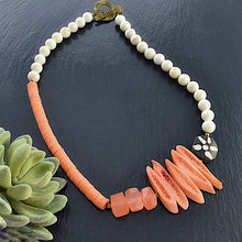 Load image into Gallery viewer, Peach Bohemian Structural Statement Necklace - Afrocentric jewelry